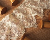 gold scalloped lace fabric trim
