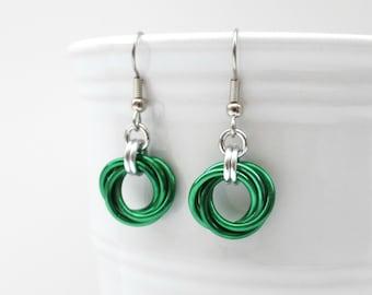 Green earrings, chainmaille Love Knot jewelry, circle earrings, minimalist earrings