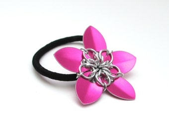Chainmaille scale flower, hair accessory, hot pink flower ponytail holder