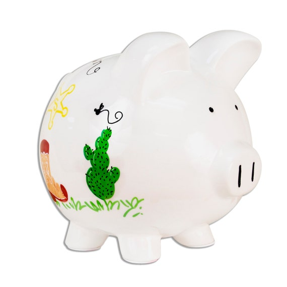Hand painted personalized ceramic western piggy bank by mybambino - Ceramic piggy banks for boys ...