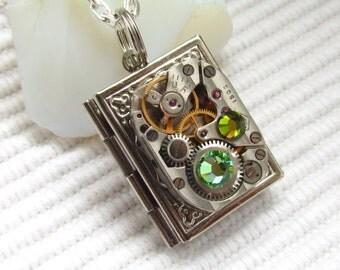 Steampunk book locket necklace  vintage watch  movement Swarovski crystals Silver locket Unique gift ideas Gift for Her Womens gift ideas