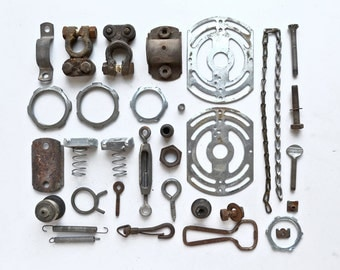 over 2 pound lot metal found objects vintage hardware  from Elizabeth Rosen