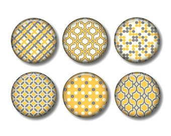 Yellow and grey pinback button badges or fridge magnets