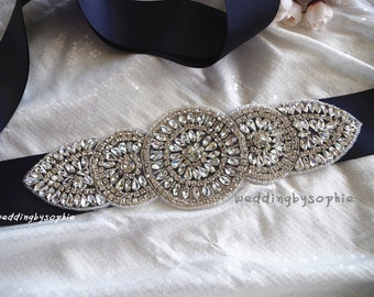 rhinestone applique, crystal applique, bridal sash applique, wedding headpiece applique, wedding beaded applique, bridal sash applique