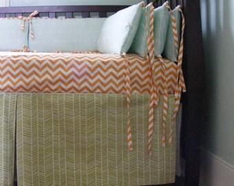 Premium Baby Bedding Crib Set Modern Herringbone /  Arrows Mint Green Orange Set / 3 piece set