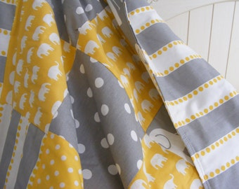 Patchwork Modern Baby Bedding Crib Stroller  Quilt  cotton organic fleece Yellow Grey Elephants