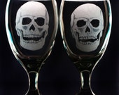 Black smoke glassware skull goblet Dining entertaining ,engraved  home and living ,hostess wine glasses ,wine and spirits gift ideas