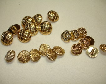 Button DESTASH - Gold buttons - 23 buttons - 1/2 to 5/8 inches - Several styles
