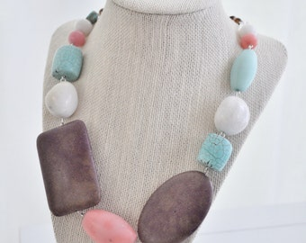 Mixed Stone Bead Necklace Coral Brown Turquoise