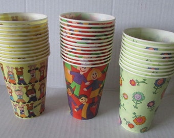 Vintage Dixie Cups 35 Cups Fun Designs Created by Kids Dixie Supports Save the Children