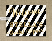 Black White Stripe Welcome Sign Gold Glitter Bridal Shower Wedding Buffet Food Table Sign Printable 8x10 DIY Digital or Printed - Stella
