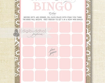 Pink Lace Bridal Shower Bingo 5x7 Shabby Chic Lace Burlap Bridal Shower Game Card 5x7 Printed Game Cards - Jackie
