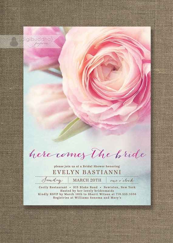 Pink Peony Bridal Shower Invitation Aqua Blue & Pink Bloom Shabby Chic ...