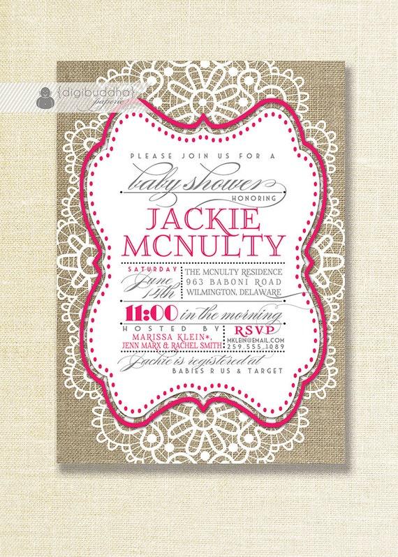 fuchsia lace burlap baby shower invitation hot pink white lace, Baby shower invitations