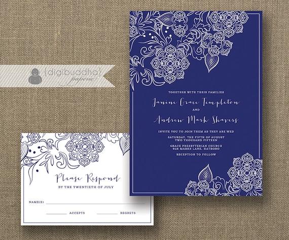 Navy Blue And White Wedding Invitations: Navy & White Lace Wedding Invitation And RSVP 2 Piece