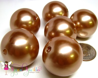 Camel Brown Pearls Huge Round Imitation Pearls 30mm Girls Bubblegum Beads