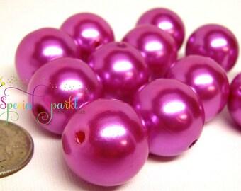 12 Chunky Pearl Beads, Hot Pink Magenta, 22mm, Bubblegum Beads, Bubblegum Jewelry
