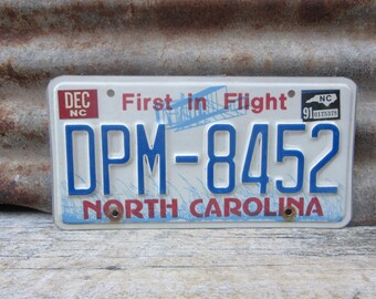 License Plate Vintage License Plate 1991 90s Era NC North Carolina First in Flight License Plate Blue Man Cave Sign Garage Sign Wall Hanger
