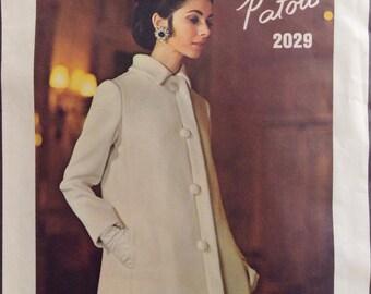 """Vintage 1960s Vogue Paris Original Patou Coat and Evening Dress Pattern 2029 Size 14 (36"""" Bust)"""