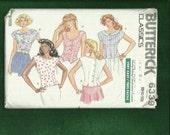 Vintage 1988 Butterick 6339 Romantic Cap Sleeve Tops Sizes 8.10.12