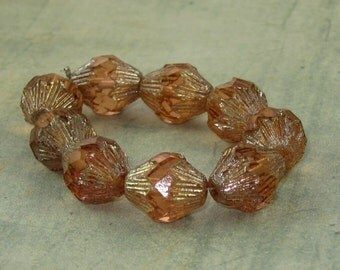 Peach Bicone 13x11mm Czech Glass Bead Baroque Picasso PEACH ICE (6)