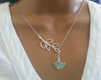 Spring Mod Bird Lariat Necklace