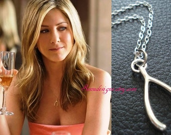 Silver Wishbone Necklace-Celebrity Inspired - bridesmaid gift  - gift for her