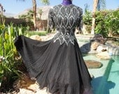 Vintage 1980s dress full ballroom dance cocktail party beaded sequined silk M/L Laurence Kazar black
