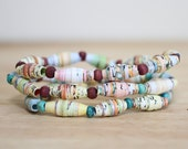 Wind In The Willows Recycled Paper Bead Bracelet Made From Book Pages, Earthy and Natural Bracelet Set, Children Book Art