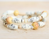 Autumn Colored Romantic Recycled Sheet Music Paper Beads, Autumn Bracelet, Mustard Bracelet, Music Lover, Band Teacher Gift, Music Teacher