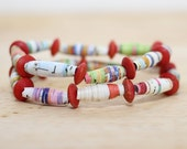 Little Red Riding Hood Recycled Paper Bead Bracelet Set