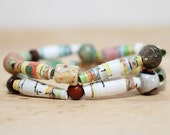 Goldielocks and The Three Bears, Recycled Paper Bead Bracelet, Made From Book pages, Librarian Gift, Teacher Gift, Book Lover
