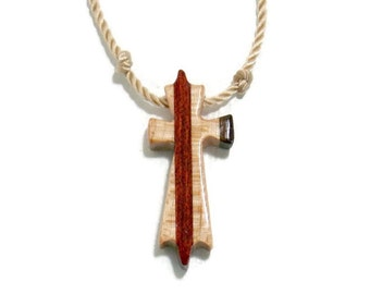 Men's Cross Necklace Carved from Bloodwood, Walnut  & Maple