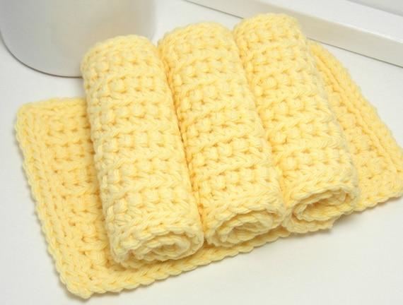 Yellow Dishcloths - Hand Crochet Dishcloths - Sunshine Yellow American Grown Cotton - Set of 4