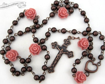 Brown rose rosary necklace copper rosary confirmation gift catholic rosary first communion rosary brown rosaries ladies rosary gift for her