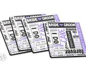 Bride Groom Coasters - Set of 4 - Wedding Coasters - Set of Coasters - Great Gift Idea