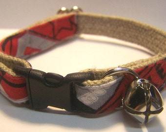 Handmade Hemp Cat Collar - Ohio State University- Emblems