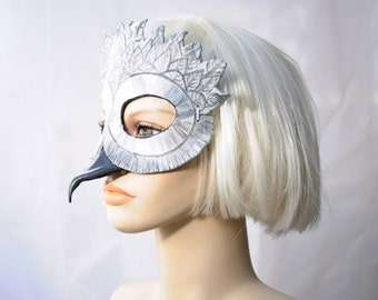 Snowy White Owl Mask in leather by Hawk and Deer