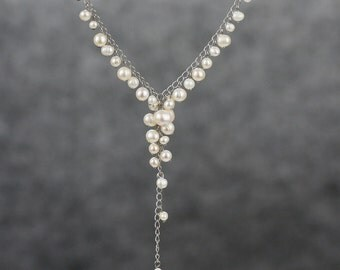 Bridal Pearl Y necklace Bridesmaid gifts Free US Shipping handmade Anni designs