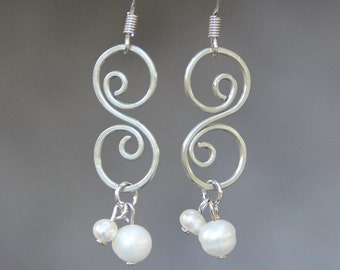 S scroll pearl dangling Earrings Bridesmaids gifts Free US Shipping handmade Anni Designs