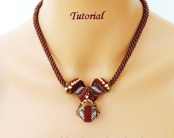 BIG HORN Cellini spiral beaded necklace beading tutorials and patterns seed bead jewelry beadweaving tutorials beading pattern instructions