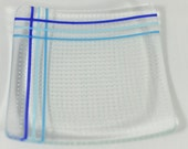 Lots of Dots/Bubbles and Blue Stripes - Fused Glass Plate