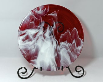 Fused Glass Plate - Red with White Swirls Glass Platter
