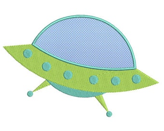 Instant download flying Saucer embroidery design applique