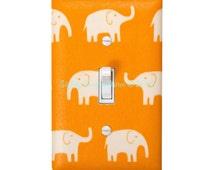 Elephant Light Switch Cover / Orange Elephants / Light Switchplate / Baby Boy Safari Nursery Decor / Kids Room