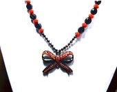 RESERVED - Black and Red Velvet Bowtie Necklace