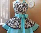 Damask Print Woman's Retro Apron Featuring Heart Shaped Bib Accented In Robin's Egg Blue