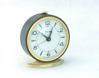 Vintage alarm clock , Blue alarm clock,  made in Russia ,70s , Russian alarm clock, mechanical clock