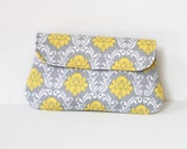 Damask clutch in yellow and light gray, cotton clutch, bridesmaid clutch, bridesmaid gift, gift for her