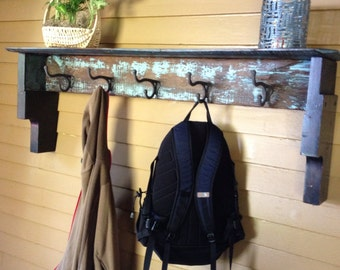 Coat Hook Shelf Repurposed Old Wood Distressed Chic with 5 Big Double Hooks and a Big Shelf